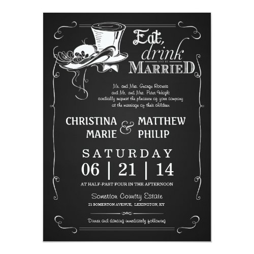 Chalkboard Top Hat Wedding Invitations