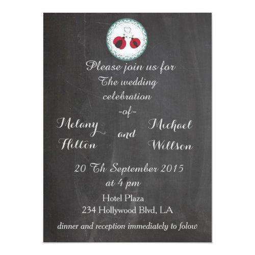 Chalkboard trendy cute ladybugs in love wedding card
