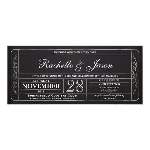 Chalkboard Vintage Wedding Ticket  Invitation