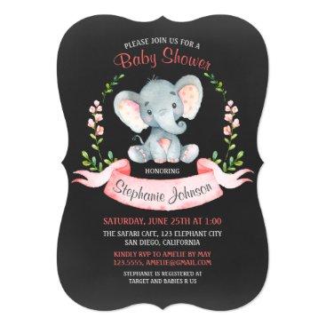 Chalkboard Watercolor Elephant Girl Baby Shower Card