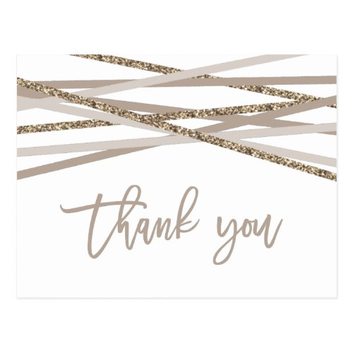 Champagne and Ivory Streamers Thank You Postcard