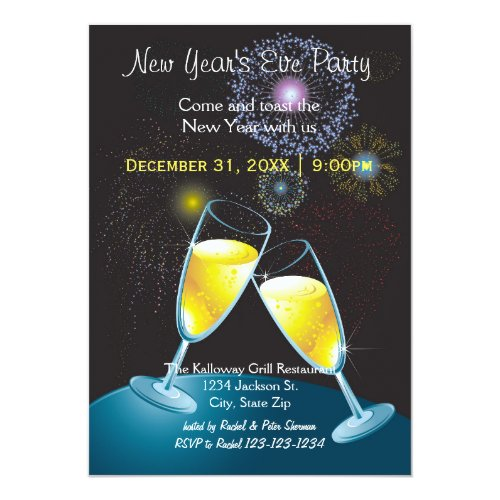 Champagne Glasses & Fireworks-New Year's Eve Party Invitation