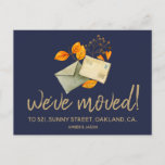 change of address hipster watercolor announcement postcard