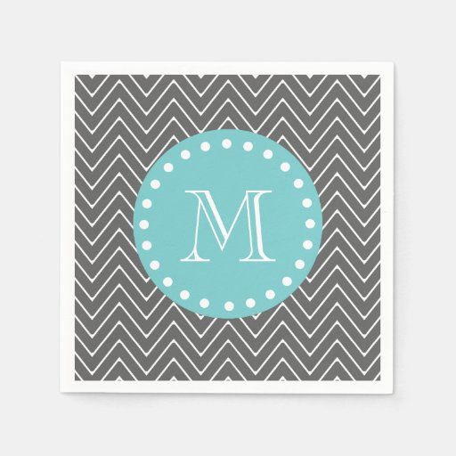 Charcoal Gray Chevron Pattern Teal Monogram Paper