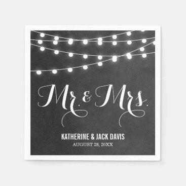 Charcoal String Lights Wedding Monogram Paper Napkin