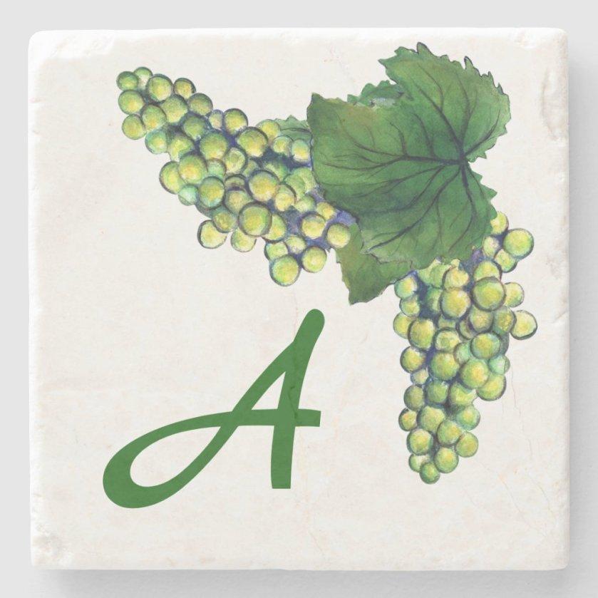 Chardonnay White Wine Grapes Custom Monogram Stone Coaster