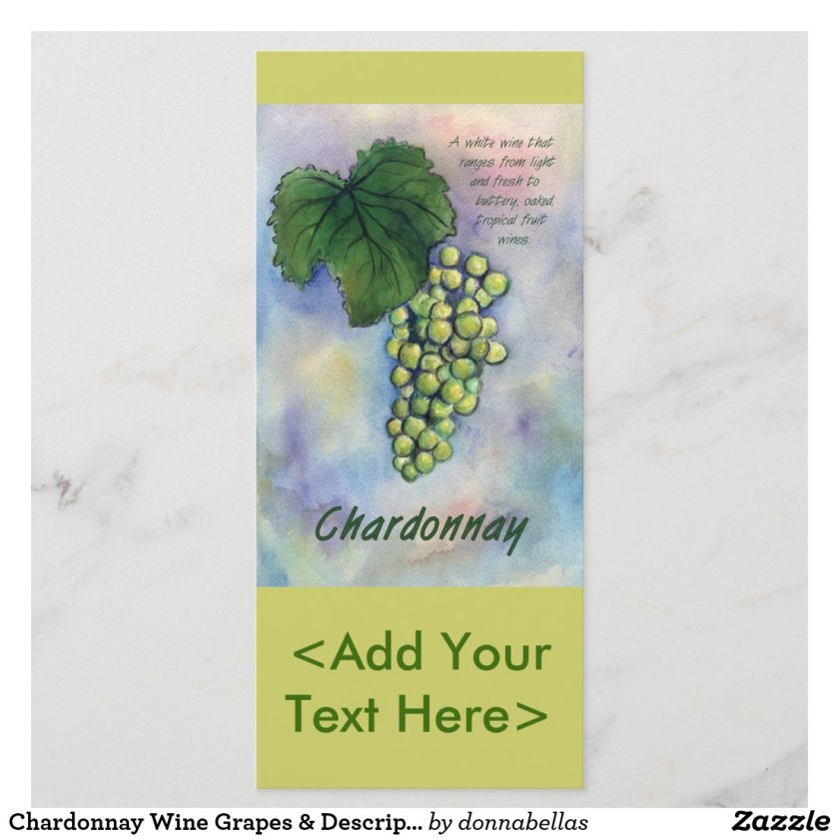 Chardonnay Wine Grapes & Description Rack Card
