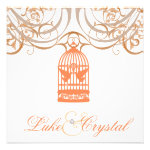 Charming Coral Birdcage Wedding Invitation