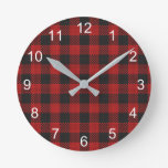 Check Buffalo Plaid Pattern Rustic Red Black Round Clock
