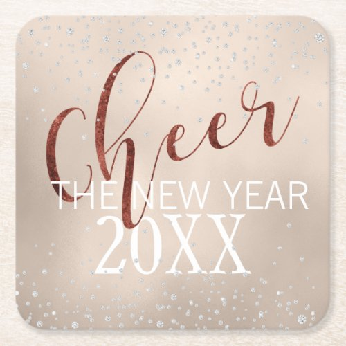 Cheer the New Year Glam Diamond and Gold Foil Square Paper Coaster