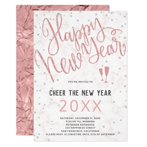 Cheer the New Year Rose Gold Marble Party Invitation