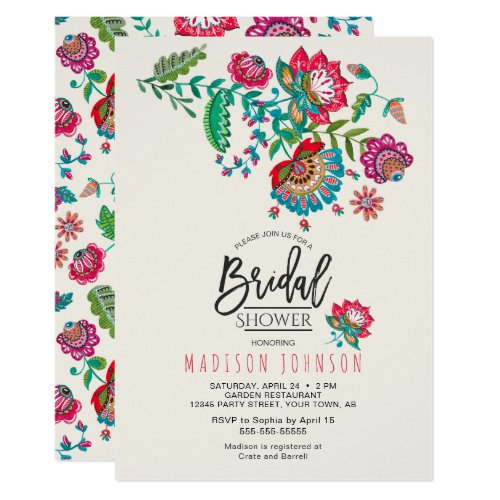 Cheerful Mexican Red &amp&#x3B; Turquoise Folk art Floral Invitation