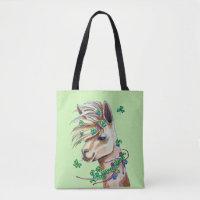 cheerful spring llama tote bag