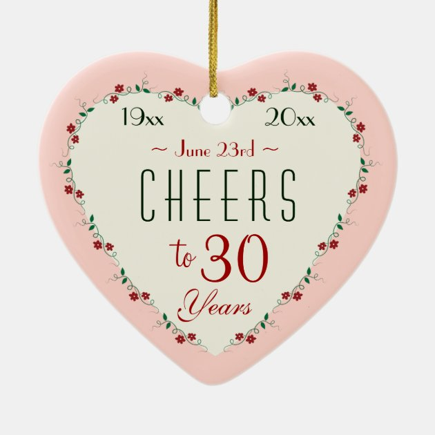 Cheers To 30th Wedding Anniversary Christmas Gifts Ceramic