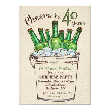Cheers to 40 years Birthday Invitation