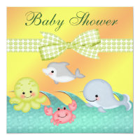 Cheery Baby Sea Creatures Baby Shower Card