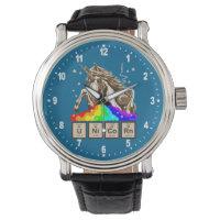 Chemistry unicorn pukes rainbow wristwatch