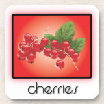 Cherries cork coasters