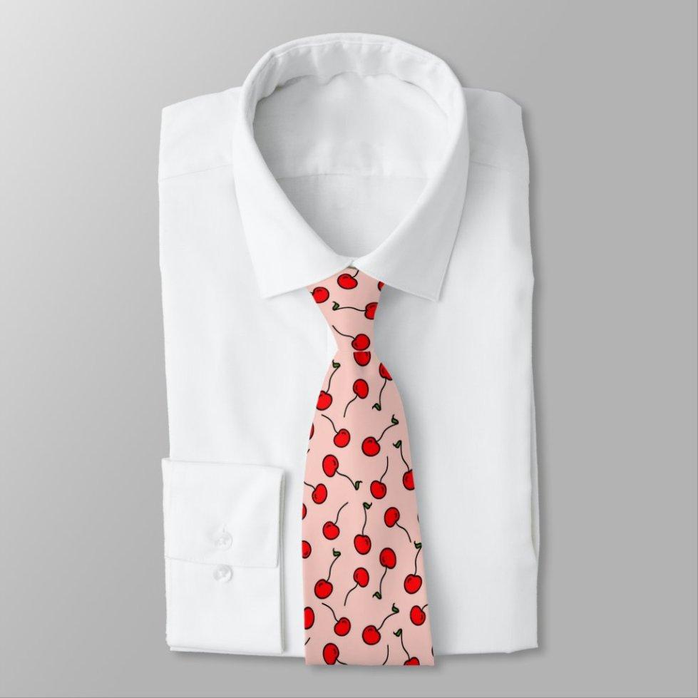 Cherries Jubilee in Pink Mens Tie