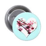 Cherry Blossom Heart buttons