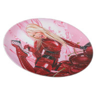 Cherry Bomb! red pink Custom Plate on Zazzle