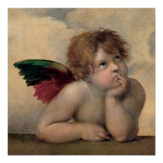 Cherub from Sistine Madonna by Raphael Poster
