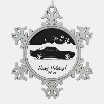 Chevrolet Camaro Rolling Shot Snowflake Pewter Christmas Ornament