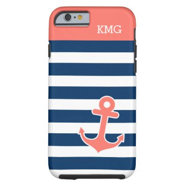 Chic Anchor Monograms in Trendy Coral Navy Strips Tough iPhone 6 Case