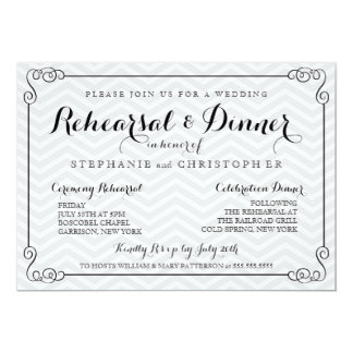 Chic Chevron Wedding Rehearsal Dinner Invitation