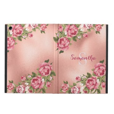 Chic Elegant Vintage Pink Roses Floral Name Case For iPad Air