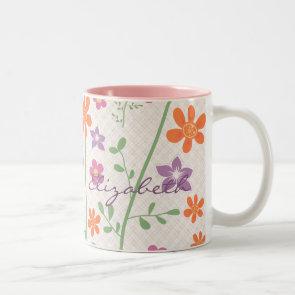 Chic Floral Pattern Design Monogram Coffee Mugs