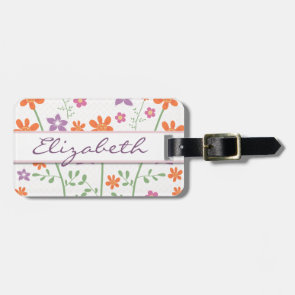 Chic Floral Pattern Design Monogram Tags For Bags