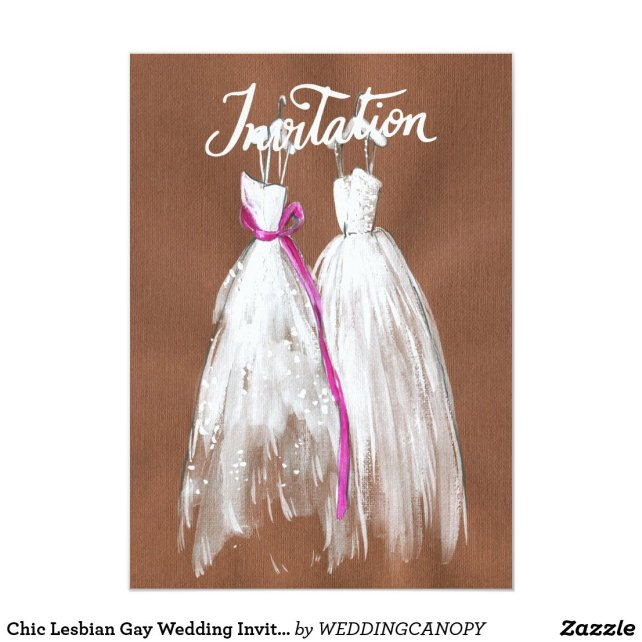 Chic Lesbian Gay Wedding Invitation Two Brides