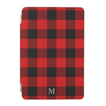 Chic Monogram Plaid Red Black Rustic Lumberjack iPad Mini Cover