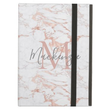 Chic Pink Rose Gold Foil Marble Monogram Case For iPad Air