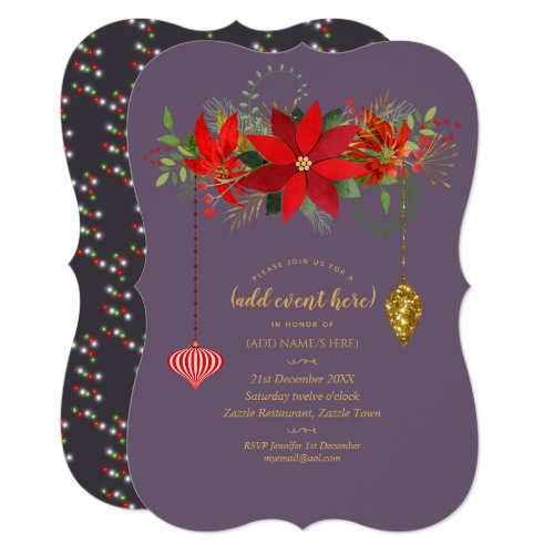 Chic Poinsettia Christmas Mauve Red Gold ANY EVENT Invitation