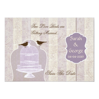 Chic Purple Bird Cage Love Birds Save The Dates Card