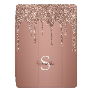 Chic Rose Gold Glitter Sparkle Drip Monogram Name iPad Pro Cover