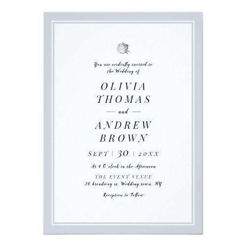 Chic Silver Floral dusty blue minimalist wedding Invitation