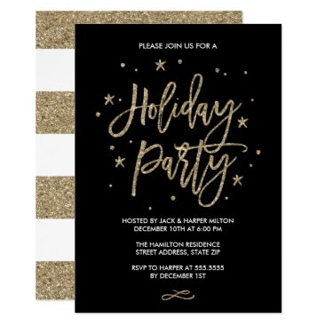 Chic Typography Faux Gold Glitter Holiday Party Invitation