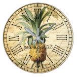 Chic Vintage French Pineapple bon apatit rustic Large Clock