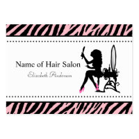 Chic Woman Pink and Black Zebra Hair Salon Large Business Cards (Pack Of 100)