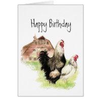 Chickens & Barn Farm Scene Blank Birthday Card