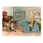 Fun Vintage Chickens In School Postcard