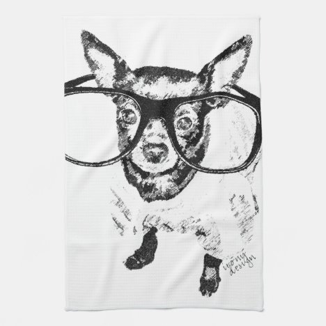 Chihuahua Dog Illustration Drawing Kitchen Towel