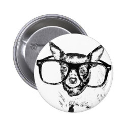 Chihuahua Dog Illustration Drawing Pinback Button