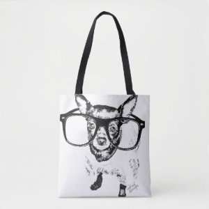 Chihuahua Dog Illustration Drawing Tote Bag