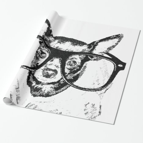 Chihuahua Dog Illustration Drawing Wrapping Paper