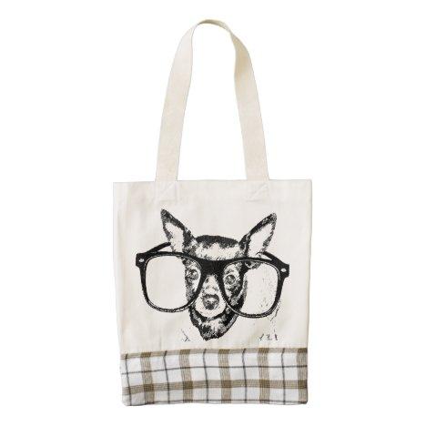 Chihuahua Dog Illustration Drawing Zazzle HEART Tote Bag