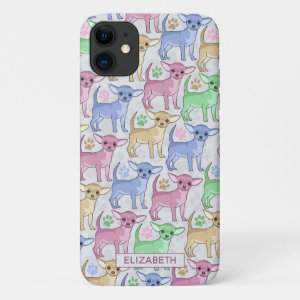 Chihuahua Lover Colorful Pattern Add Name Pink iPhone 11 Case